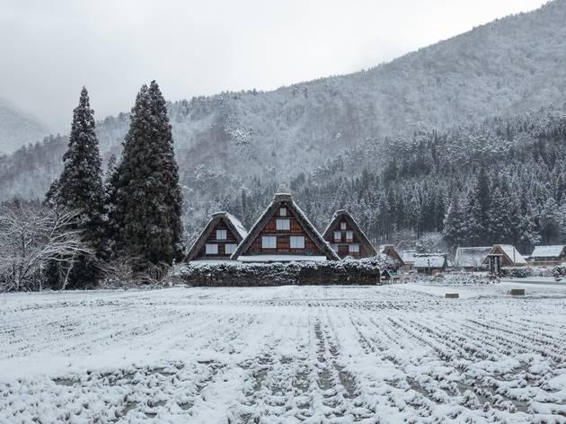 Shirakawago, snow in Japan