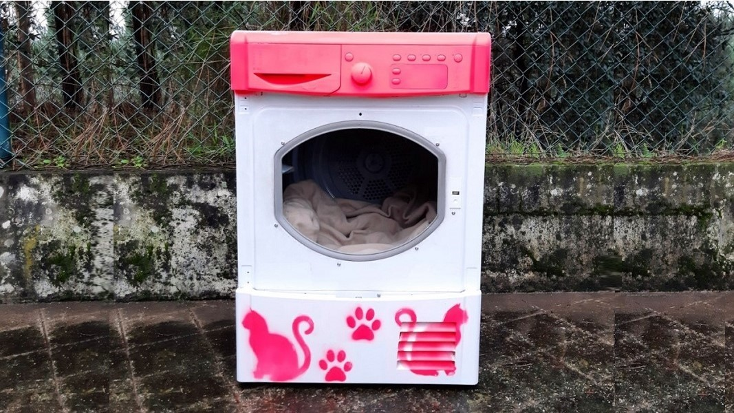 Street cats in Portugal are being given old washing machines as shelters