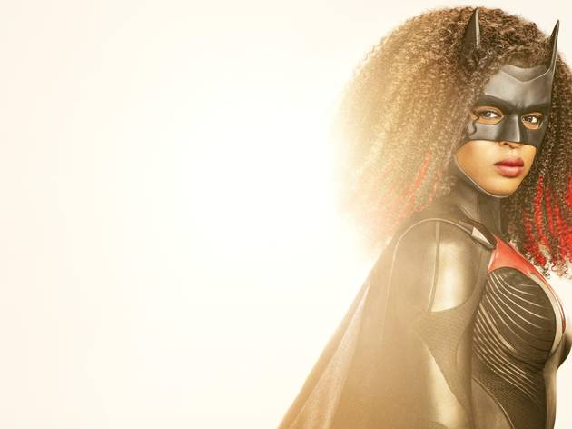 Javicia Leslie as the new Batwoman in her black leather suit and mask with afro haircut