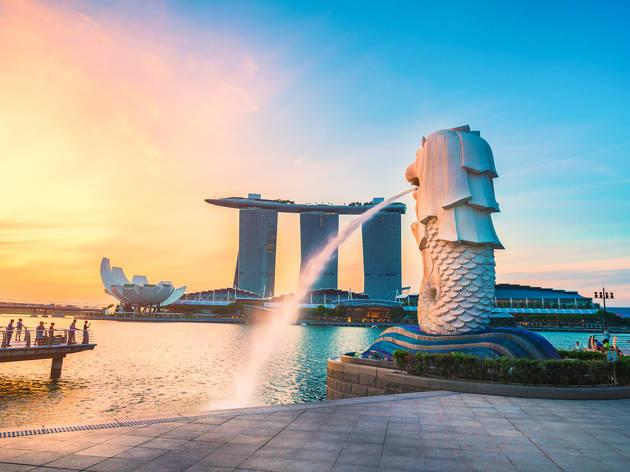 singapore, marina bay sands, merlion
