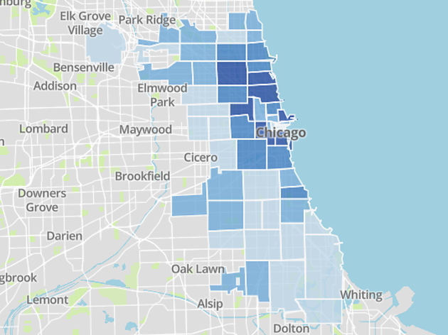 This map shows how many people have been vaccinated in each Chicago ZIP code