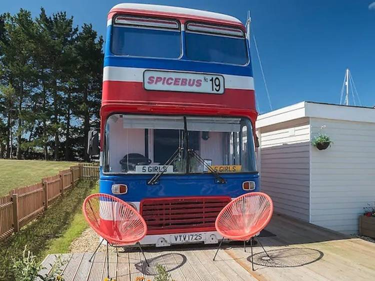 The actual Spice Bus from the movie in the Isle of Wight