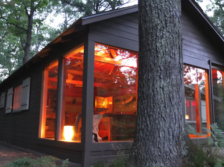 Secluded fishing cabin in the forest