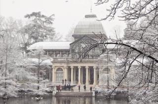Palacio de Cristal nevado