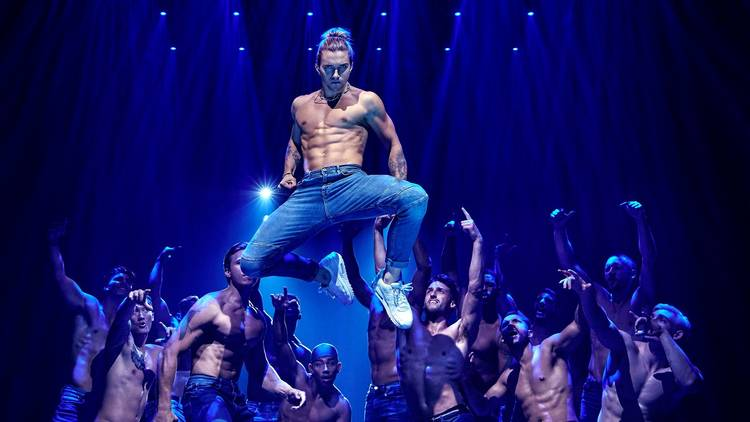 Shirtless dancers perform in Magic Mike Live Australia