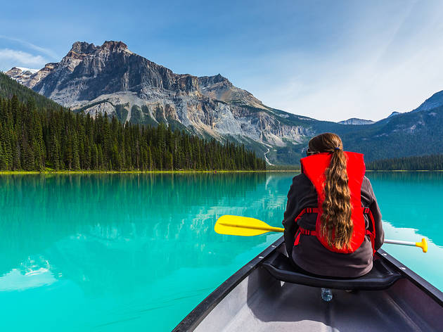 Canoeist on Emerald Lake
