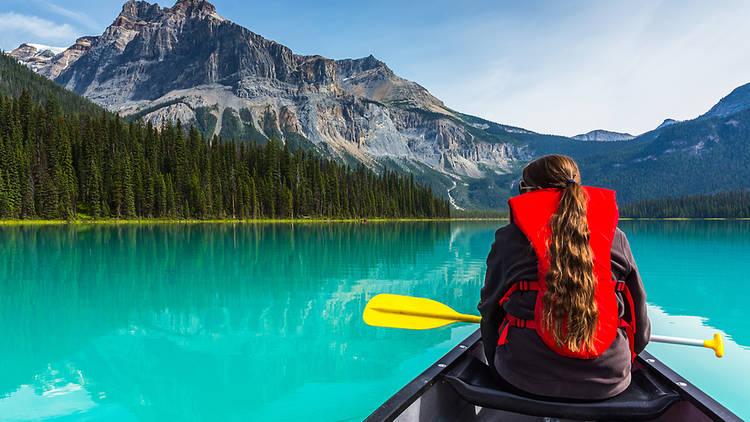 Canoeist on Emerald Lake