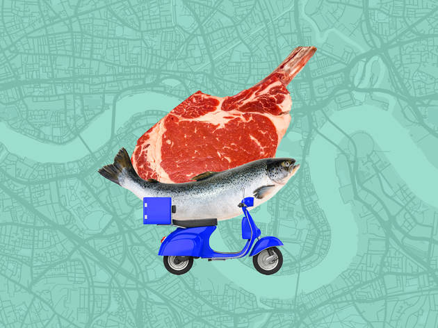 Butcher fishmongers delivery meat fish