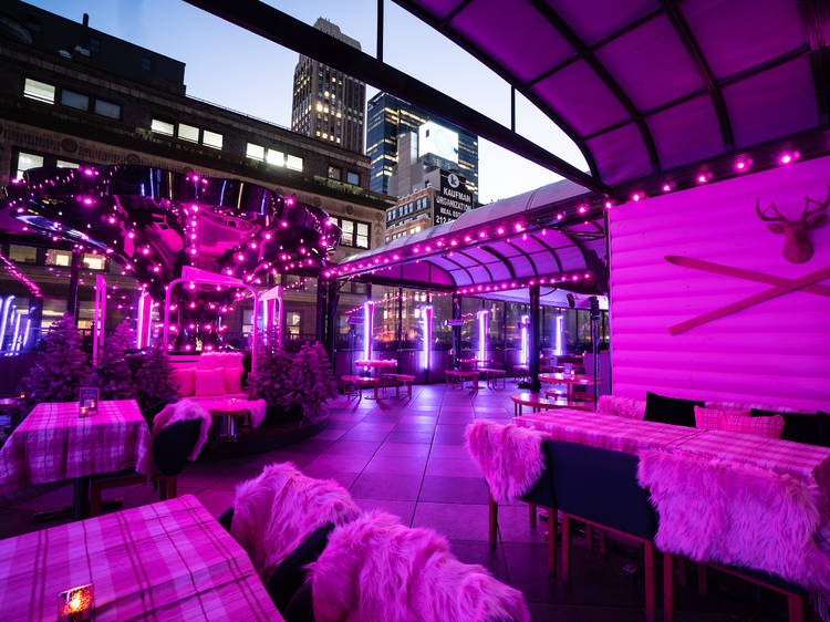 Pink Snow Lodge at Magic Hour Rooftop Bar & Lounge at Moxy Times Square