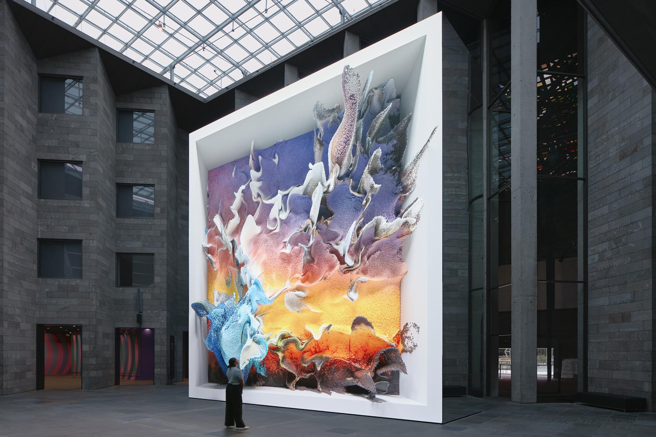 Installation view of Refik Anadol 'Quantum Memories 2020' at NGV Triennial