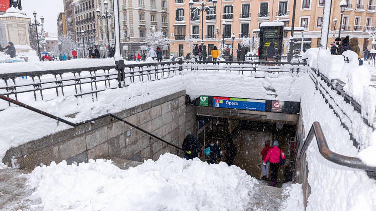 Borrasca Filomena temporal nieve estación de Metro
