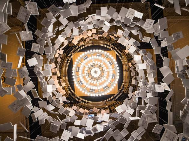 A swirling new installation in Grand Central is made of 2,600 real college diplomas