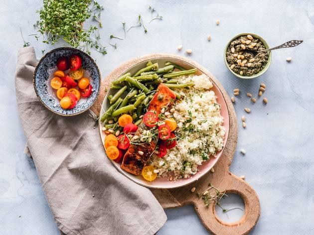 healthy food, salmon, quinoa