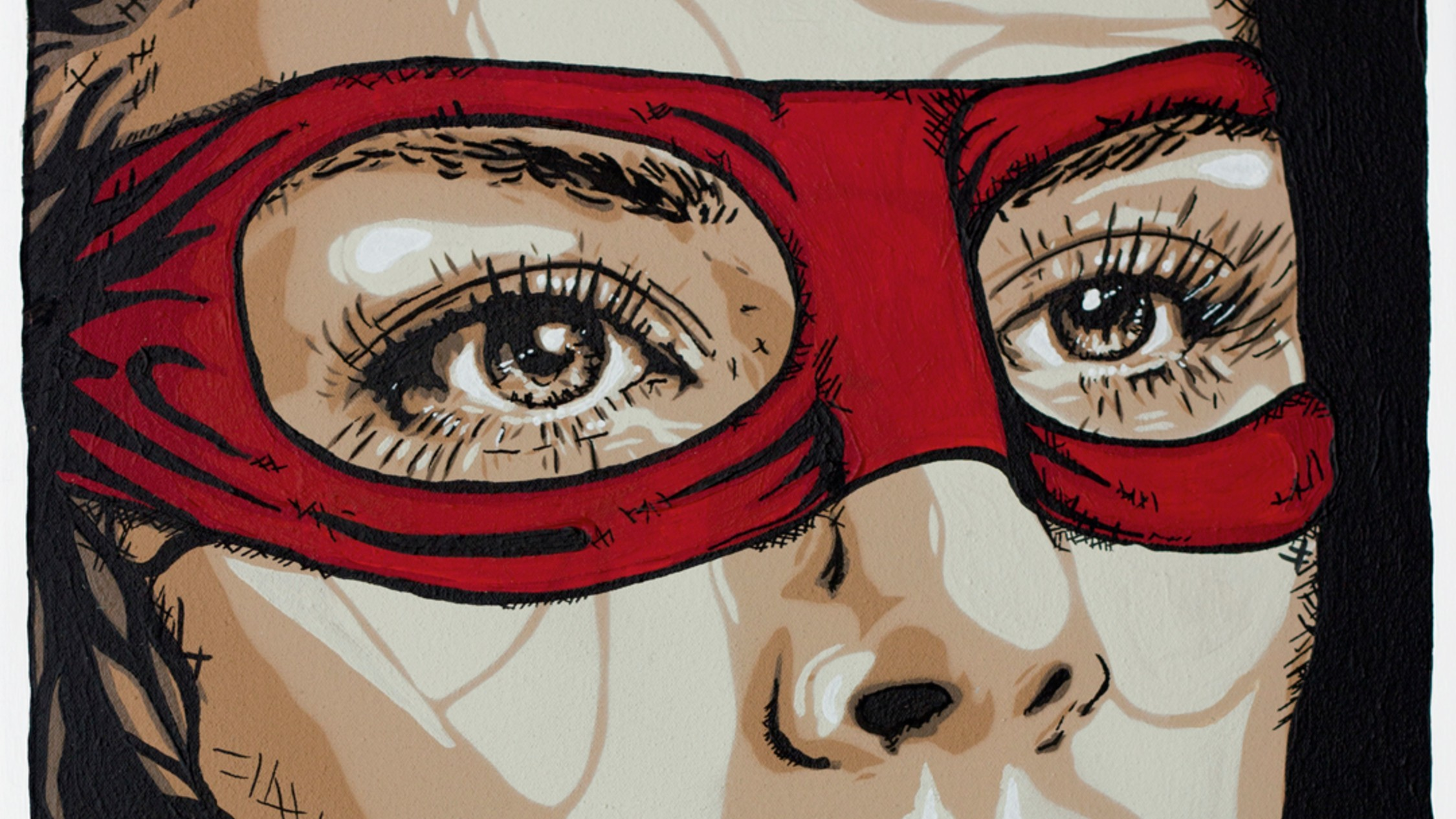 A close up of stencil art depicting a woman in a red eye mask, like a bandit or superhero