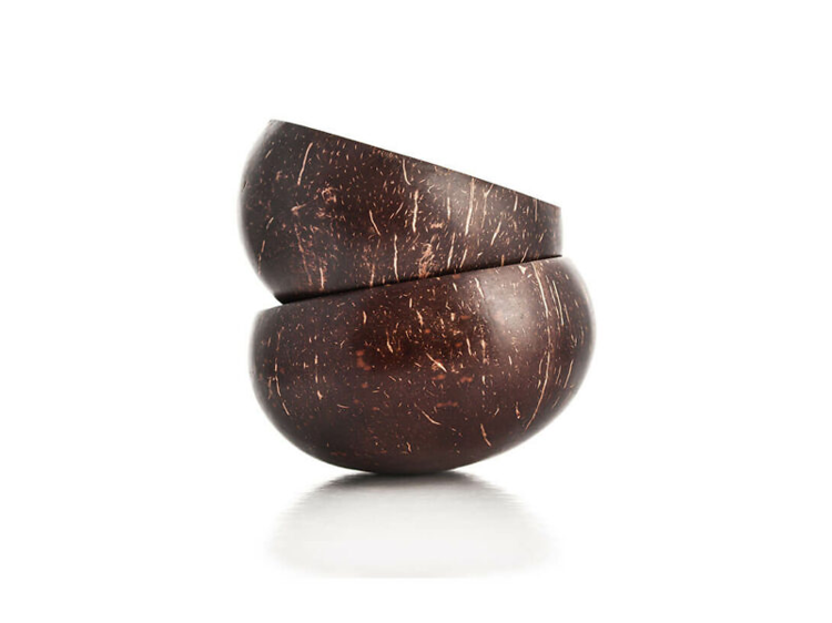 Tigelas de casca de coco natural