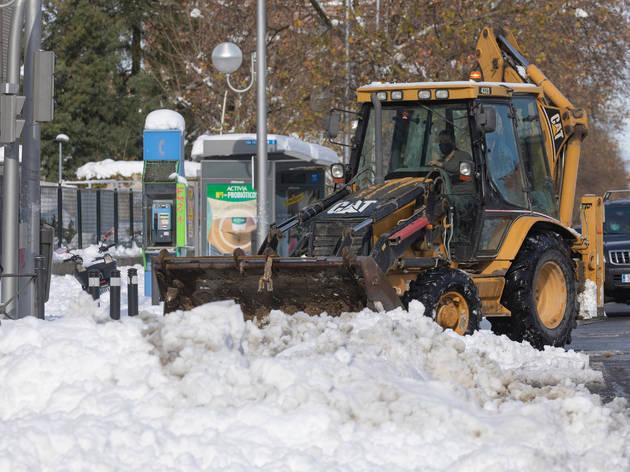 Limpieza de nieve en Madrid