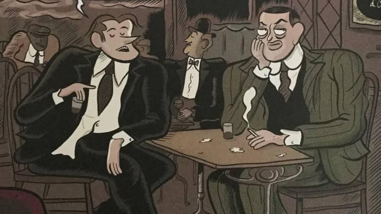 Ilustración de Luis Buñuel sentado en la mesa de un bar