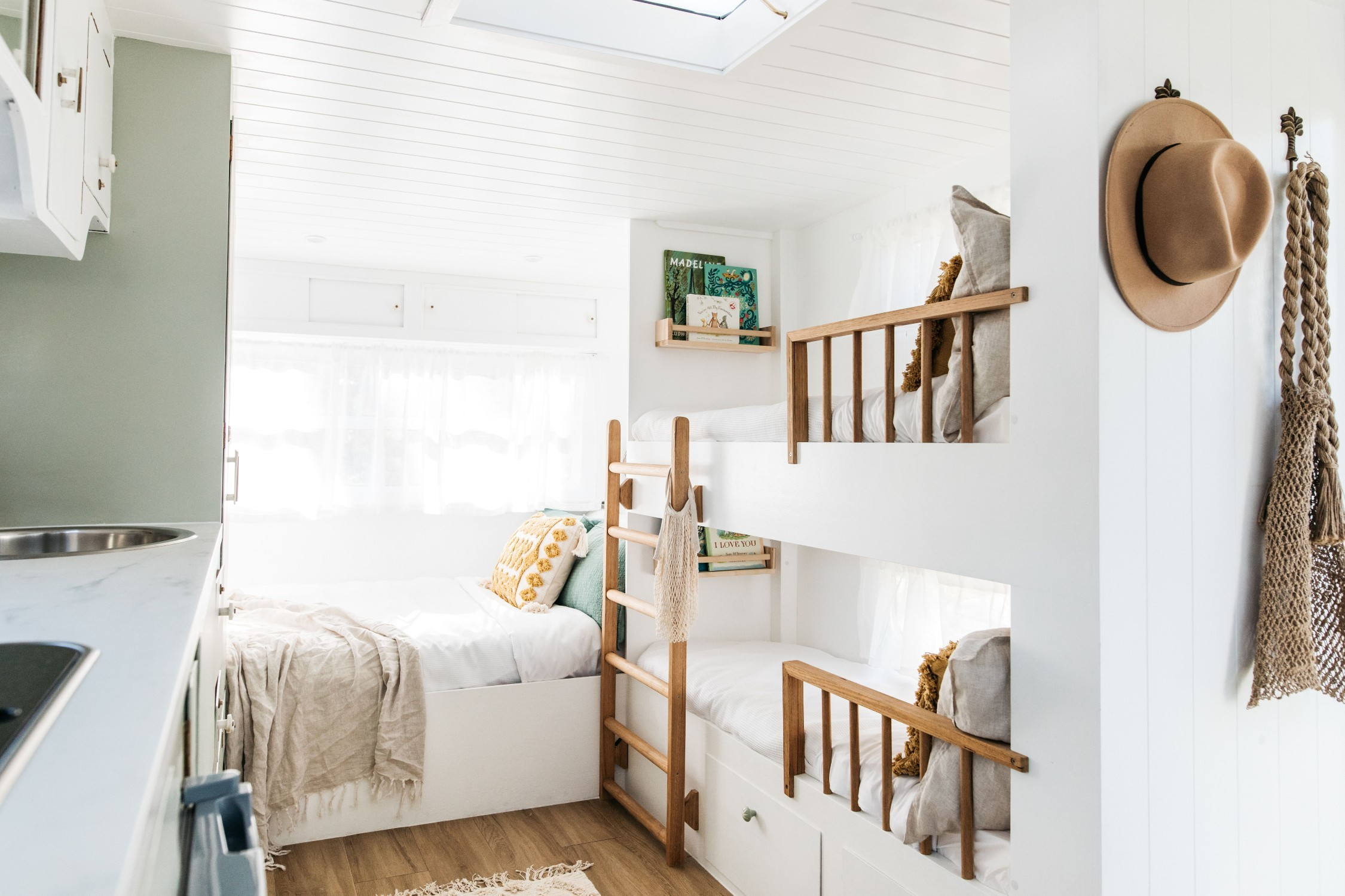Interior of caravan with stylish interiors and bunk beds