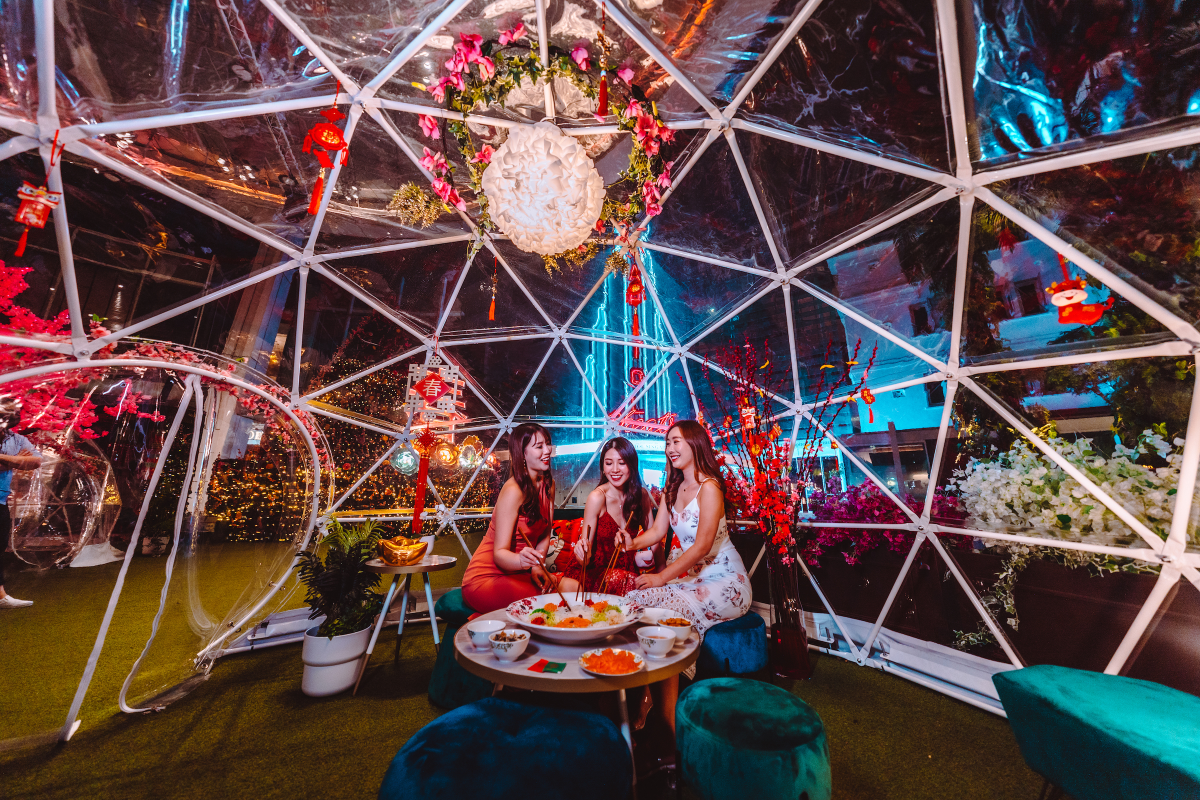 These outdoor domes at Capitol Singapore have been given a Lunar New Year makeover