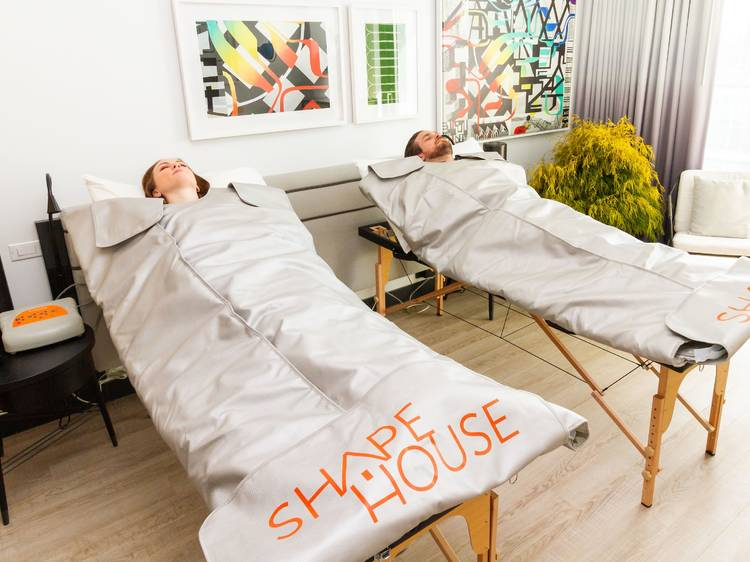 Chill out while wrapped in an infrared sauna blanket