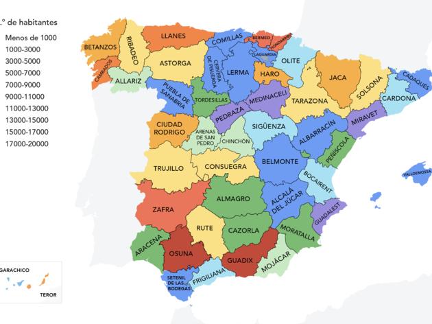 Mapa pueblos más populares de España