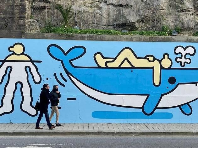 'Water Cycle' de Daniel Padure no muro do Reservatório dos Congregados