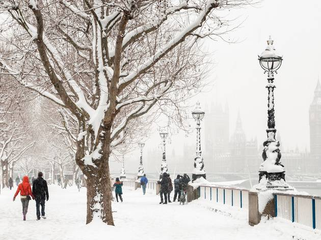 london's south bank in the snow