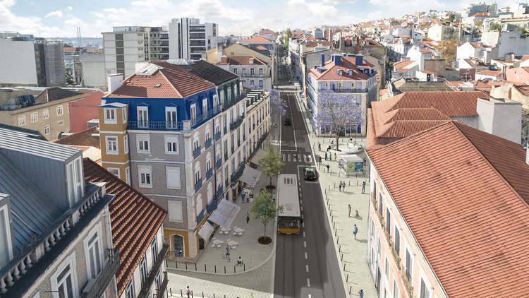 Render view do novo Largo do Conde-Barão