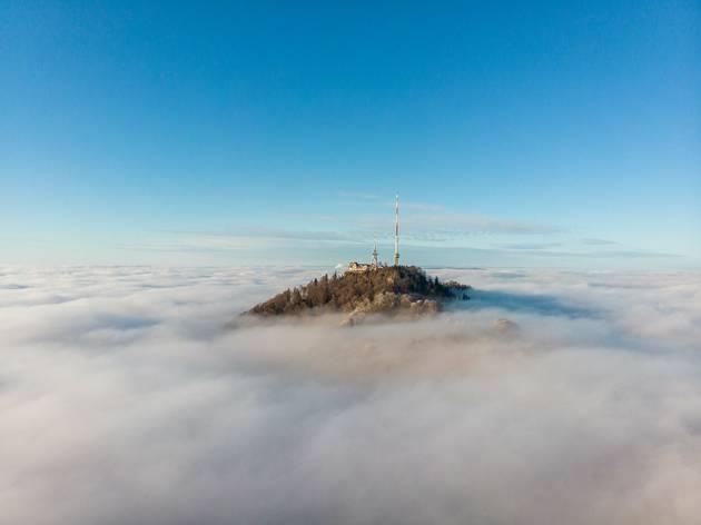 Uetliberg mountain in the clouds, above Zurich, Switzerland.