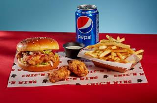 Chicken burger, chips