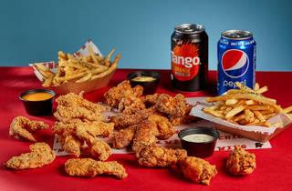 Chicken, chicken wings, chips