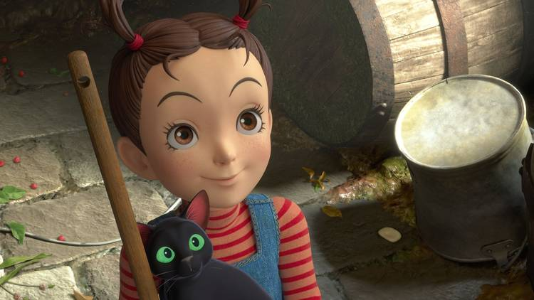 A little girl and a black cat  in animated film Earwig and the Witch