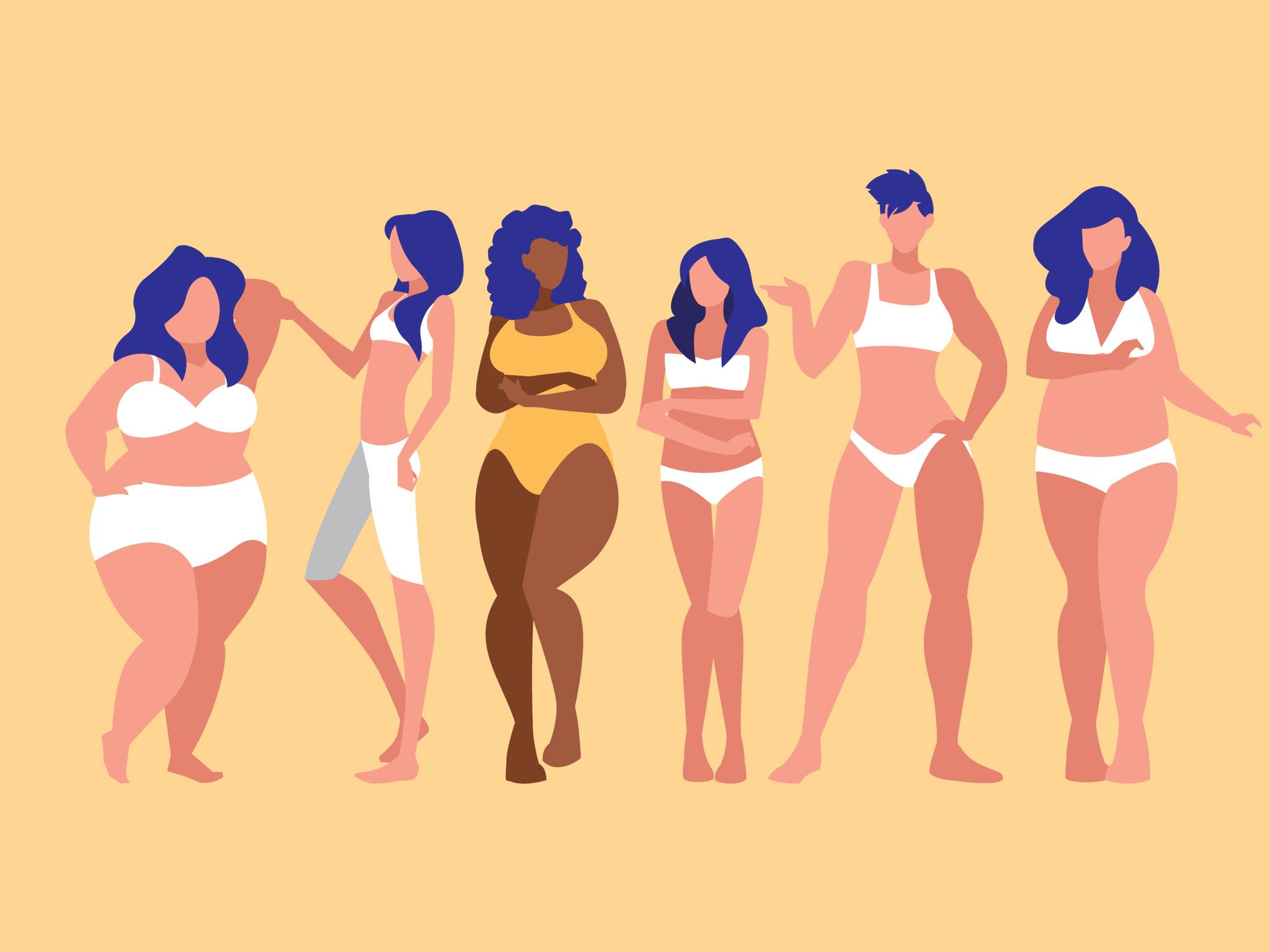 Ilustración de mujeres de diferentes cuerpos
