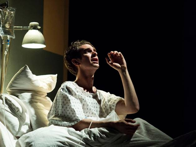 andrew garfield on stage in National Theatre's Angels in America