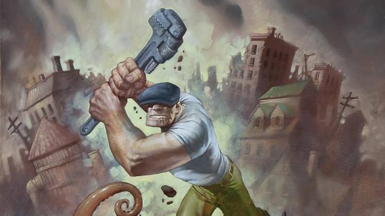 Ilustración del cómic The Goon en una montaña de ruina