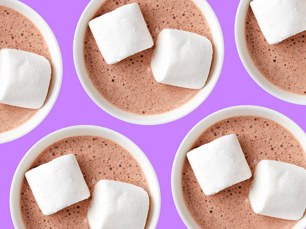 Hot chocolates with marshmallows on top