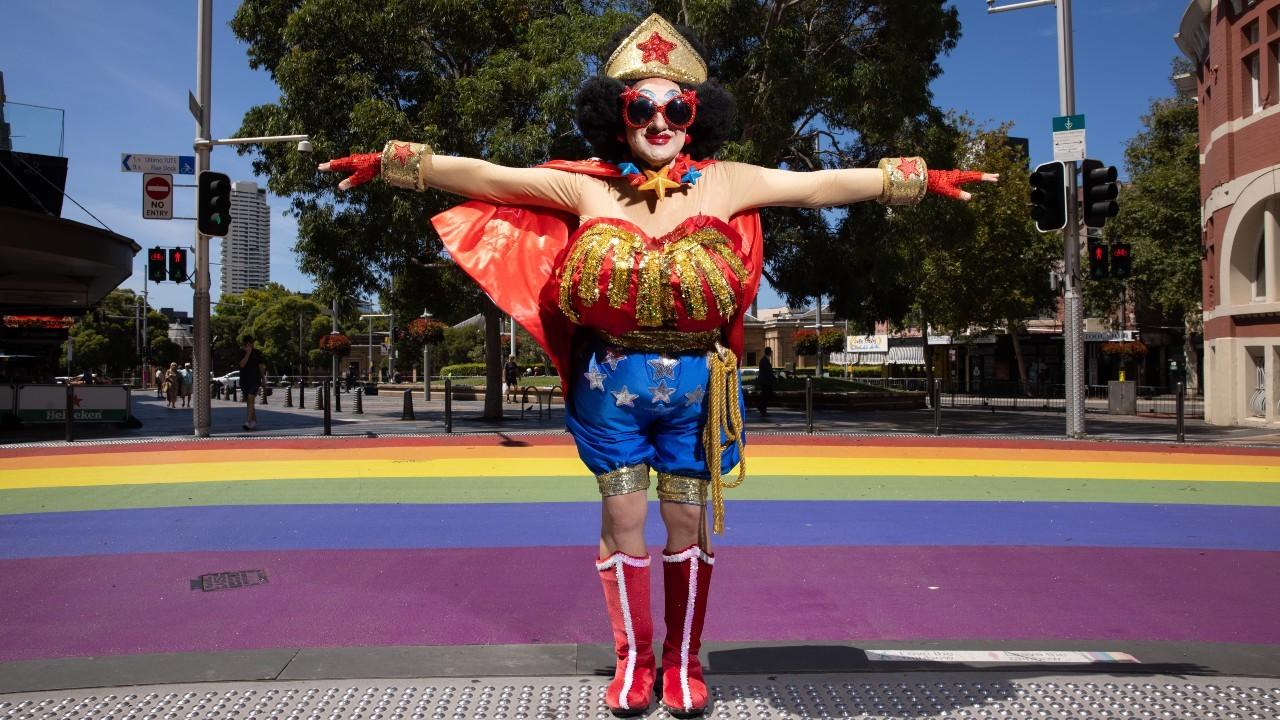 Drag queen Wonder Mama at Rainbow Crossing, Darlinghurst
