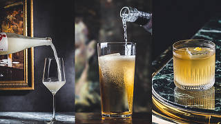The Aubrey's sparkling sake, highball, and Two Bishops