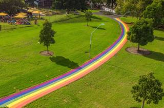 Aerial view of rainbow path through Prince Alfred Park