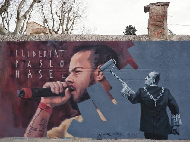 Mural de Cinta Vidal sobre Pablo Hasél
