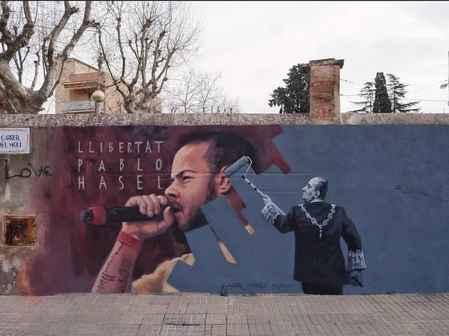 Mural de Cinta Vidal dedicat a Pablo Hasél