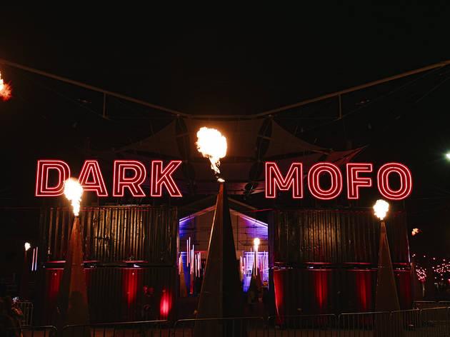 Dark Mofo neon sign at night