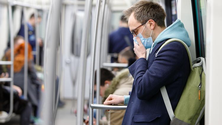 Mask on subway
