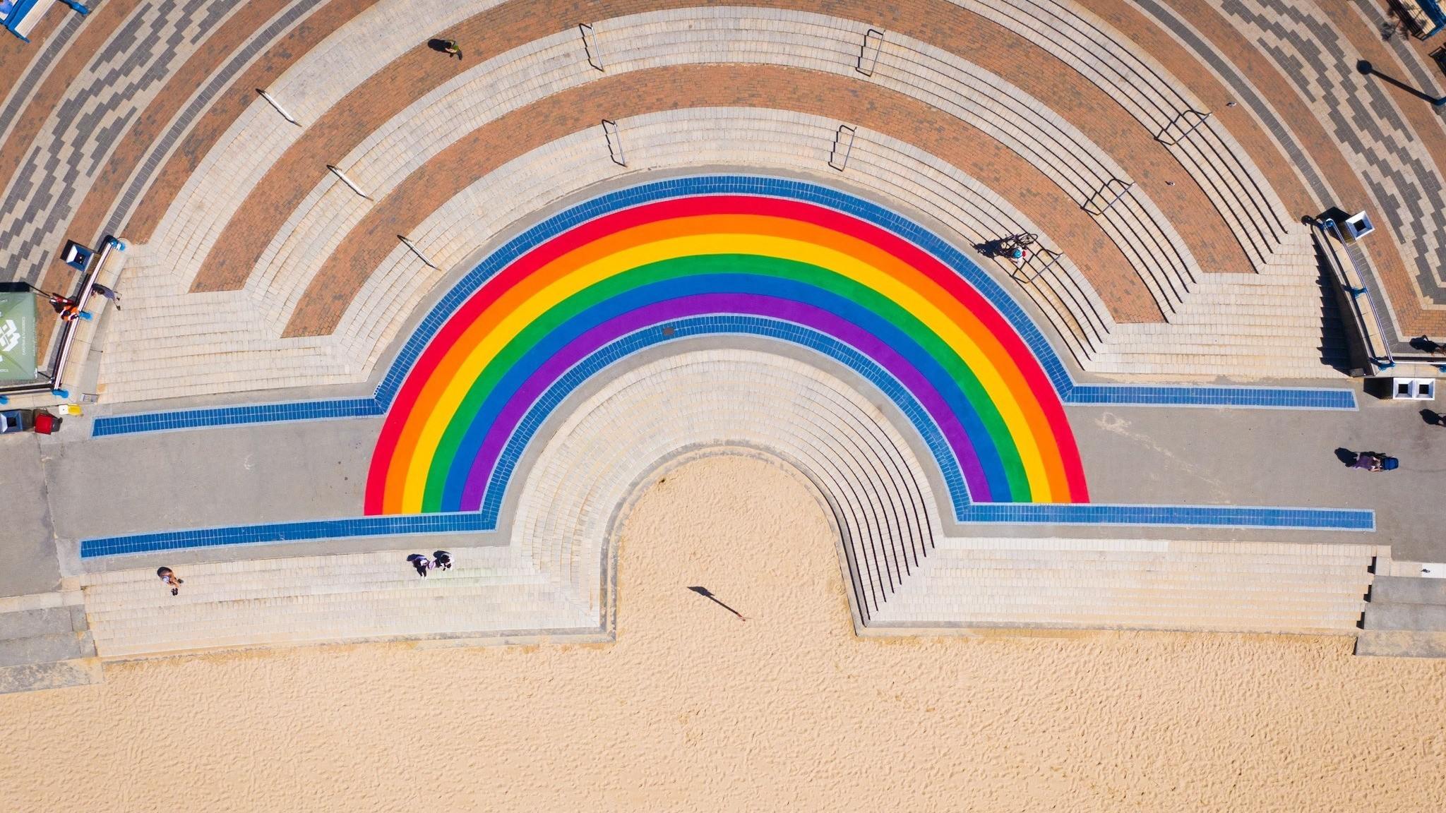 Rainbow walkway on the steps at Coogee Beach