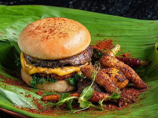 Hamburguesa vegana en Sonora Grill