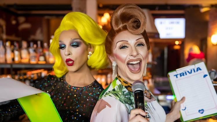 Drag queens Fran Giapanni and Dakota Fann-ee host trivia