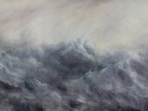 A large-scale painting of a stormy grey sea with huge waves and dark skies