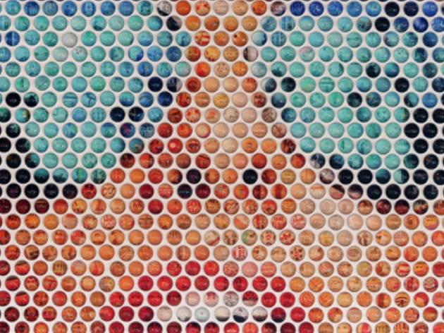 A dot point art work depicting a women in blue aviator shades