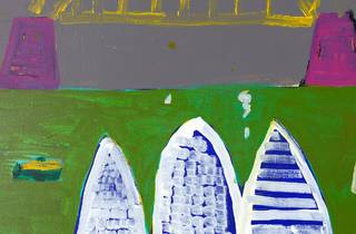 Ken Done's bright green, pink and yellow take on the Sydney Harbour Bridge and Opera House