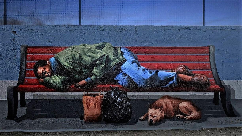 'Quando a noite cai' (2021), mural de MrDheo na Foz do Douro
